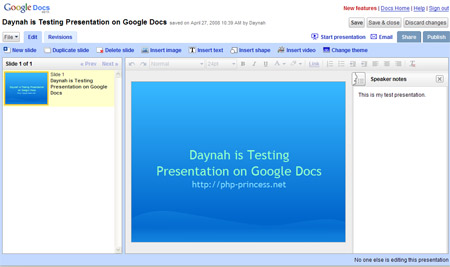 Here is google\'s version of MS Powerpoint.