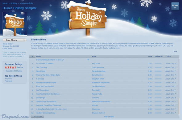 iTunes Free Holiday Sampler